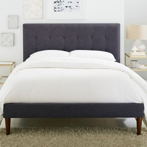 grid-tufted-upholstered-tapered-leg-bed-linen-weave-z4