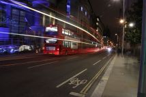 One of my favourites from the night. A bus was stopped across the street and another bus went past it