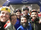 Our triumphant finish! Frank (bearded, center) was the only straggler to hang with our group the whole way.