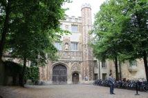 Porter outside a college entrance