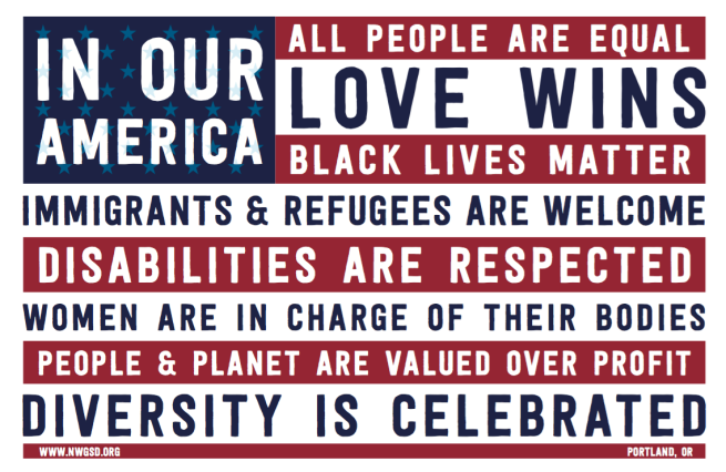 In our America, black lives matter poster